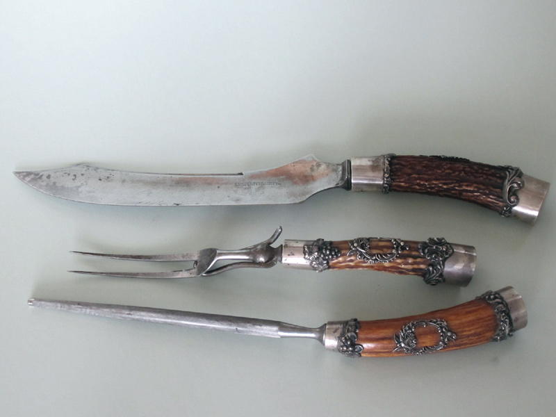 3-Pc. Sterling and Antler Carving Set  C.1900