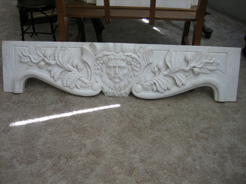 19th Century Carved Bacchus Marble Overdoor