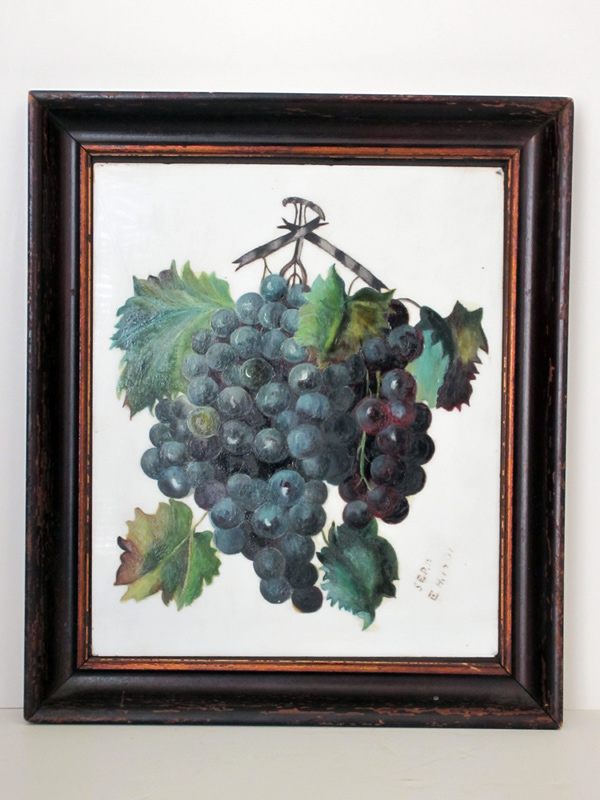 Signed Oil on Milk Glass Grape Cluster Painting, C.1901