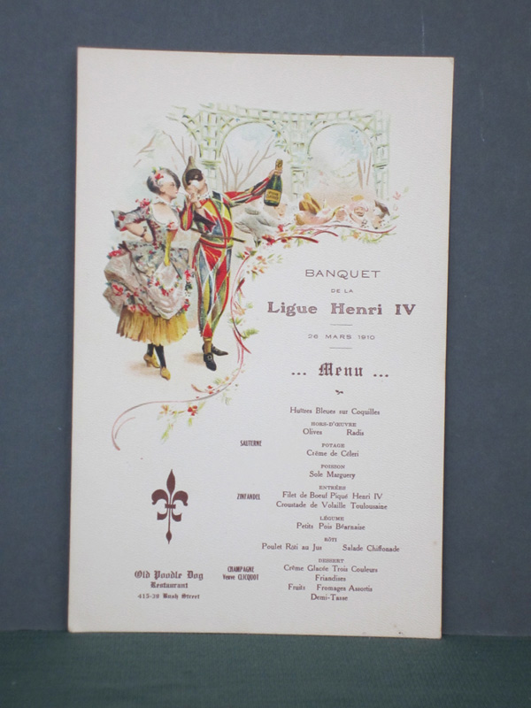 Poodle Dog Restaurant Menu Ligue Henri IV C.1910