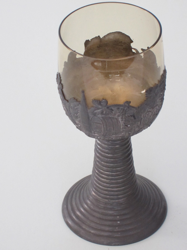 2-Pc. Crystal and Pewter Wine Glass C.1890s