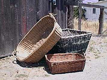 large photo of three vintage harvest baskets